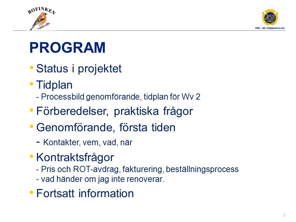 Status i projektet Lägesrapport Ansvarsfördelning mellan dessa