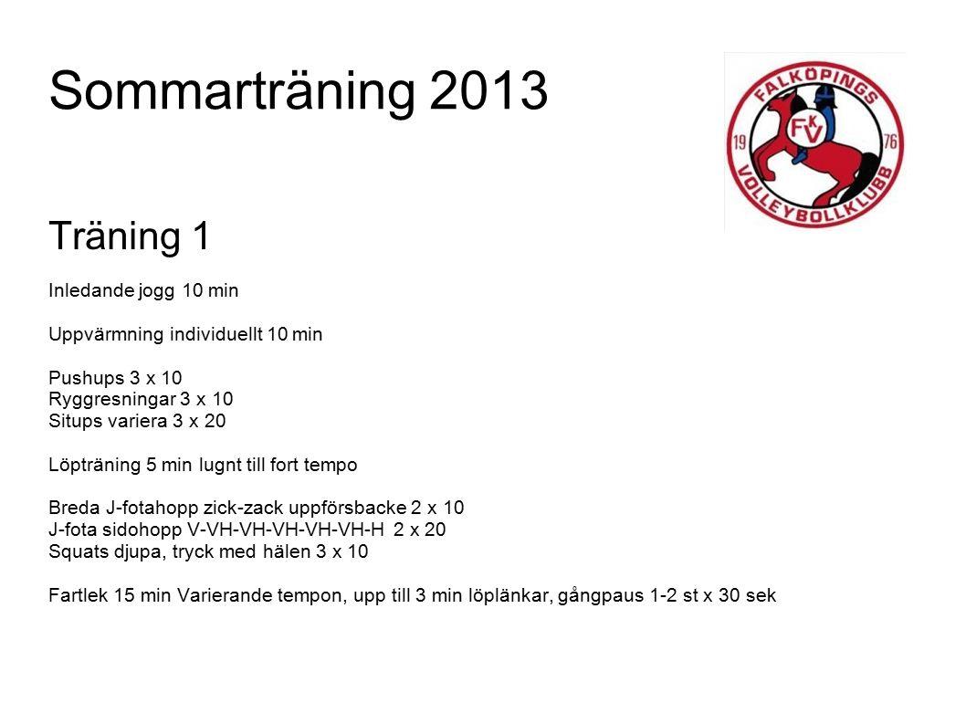 Sommarträning 2013 Träning 1 Inledande jogg 10 min