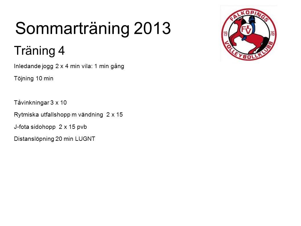Sommarträning 2013 Träning 4 Inledande jogg 2 x 4 min vila: 1 min gång