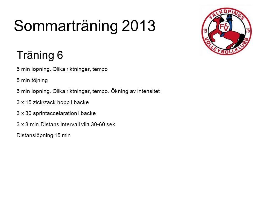 Sommarträning 2013 Träning 6 5 min löpning. Olika riktningar, tempo