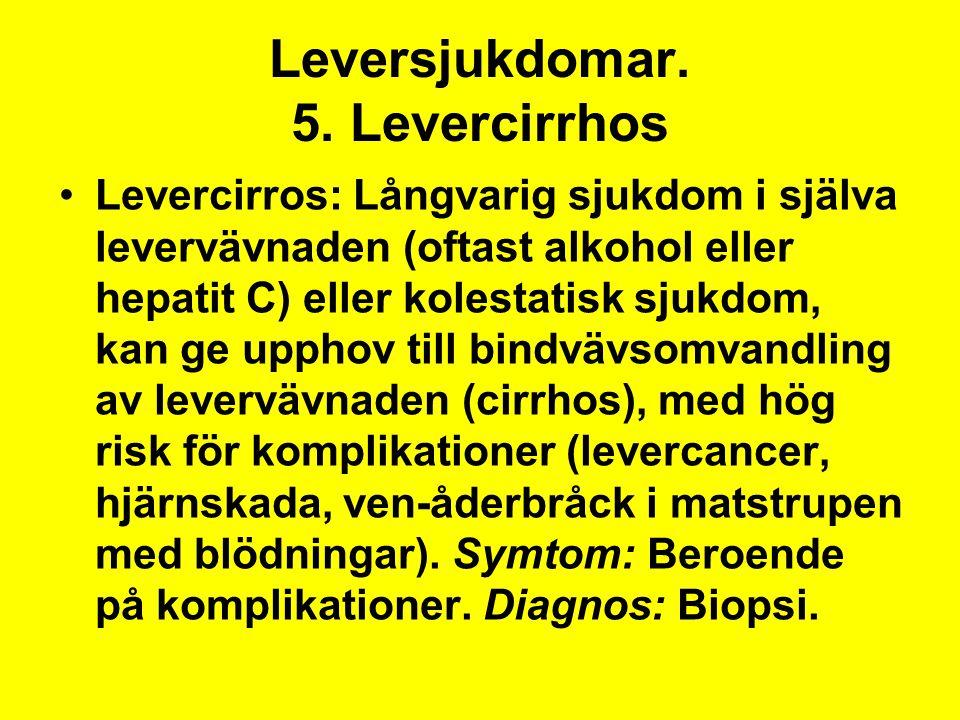Leversjukdomar. 5. Levercirrhos
