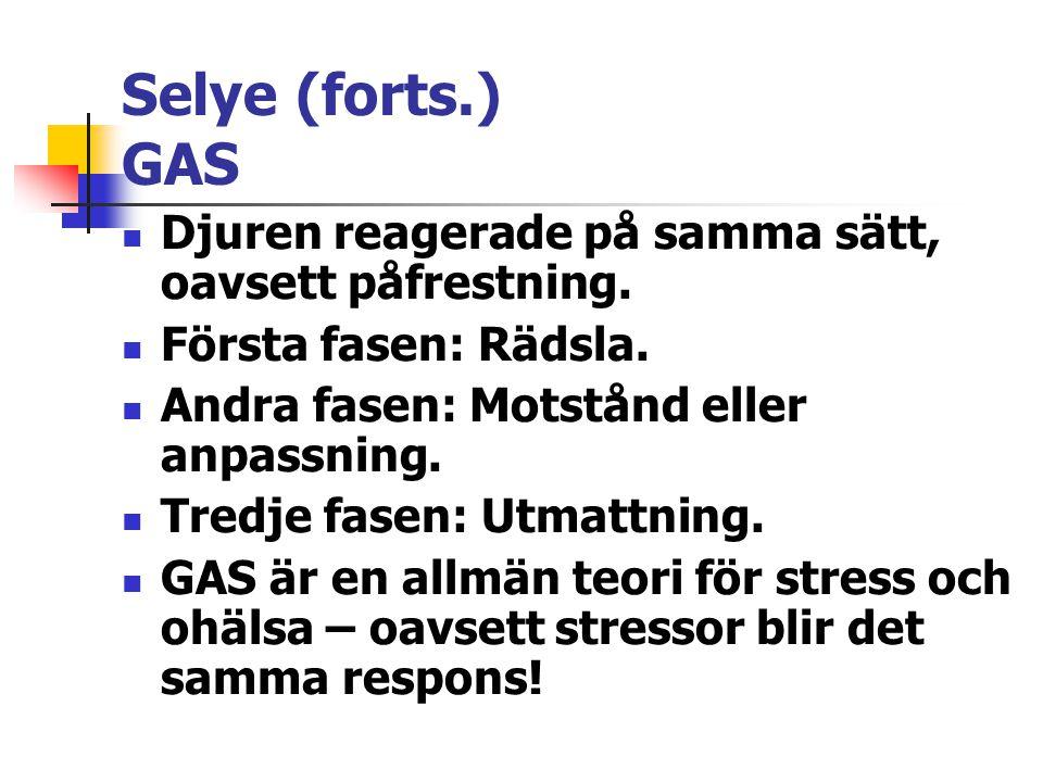 Selye (forts.) GAS Djuren reagerade på samma sätt, oavsett påfrestning. Första fasen: Rädsla. Andra fasen: Motstånd eller anpassning.