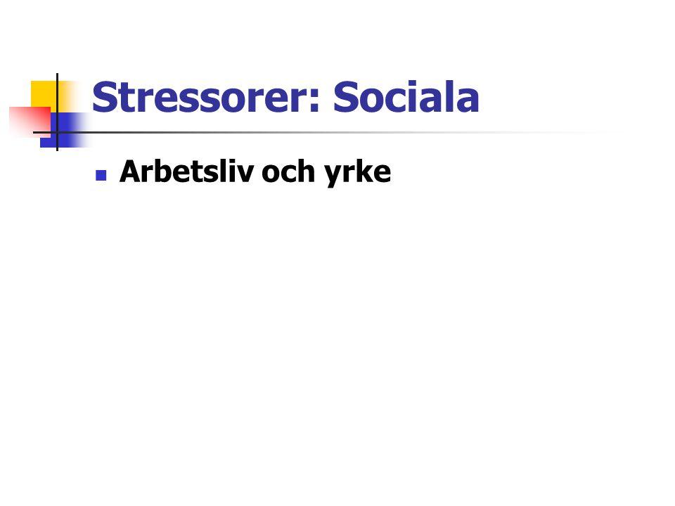 Stressorer: Sociala Arbetsliv och yrke