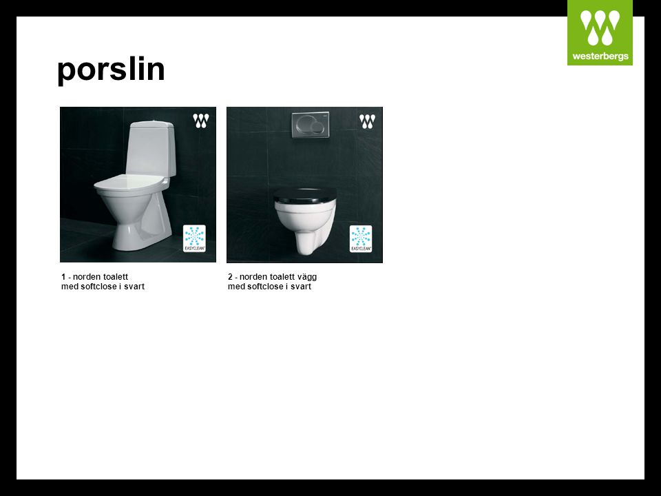 porslin 1 - norden toalett med softclose i svart
