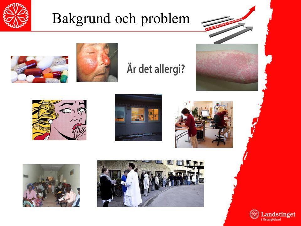 Bakgrund och problem Obesvarad fråga om de har läkemedelsallergi