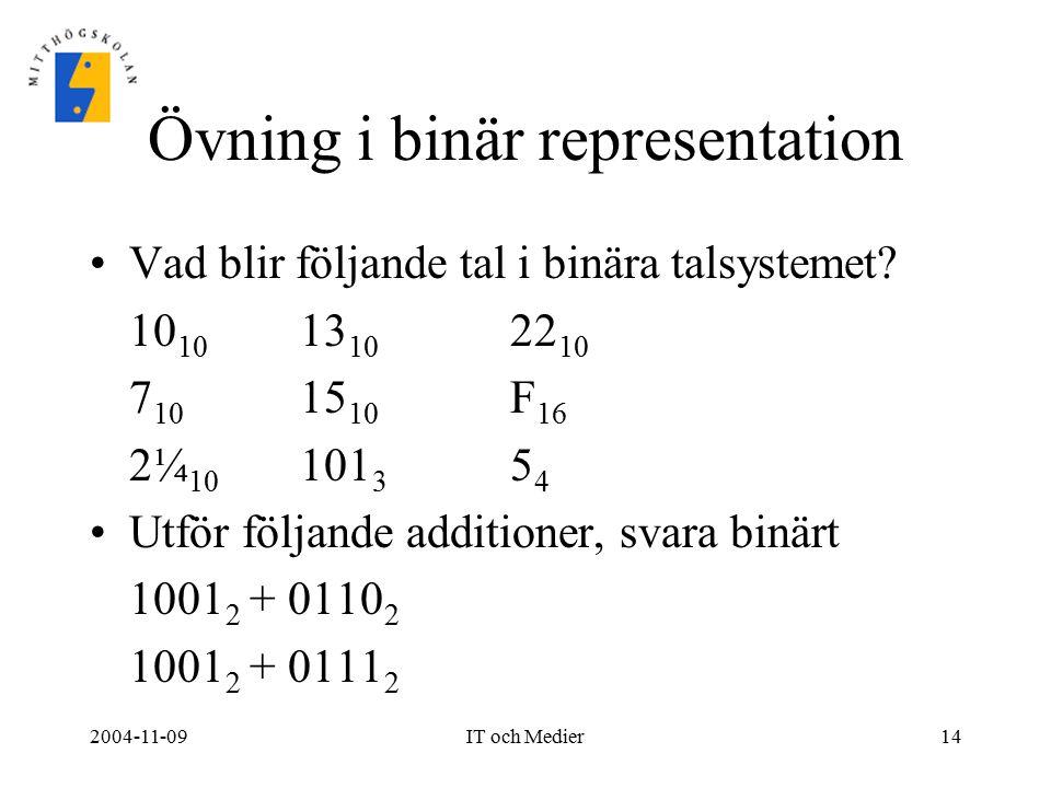Övning i binär representation