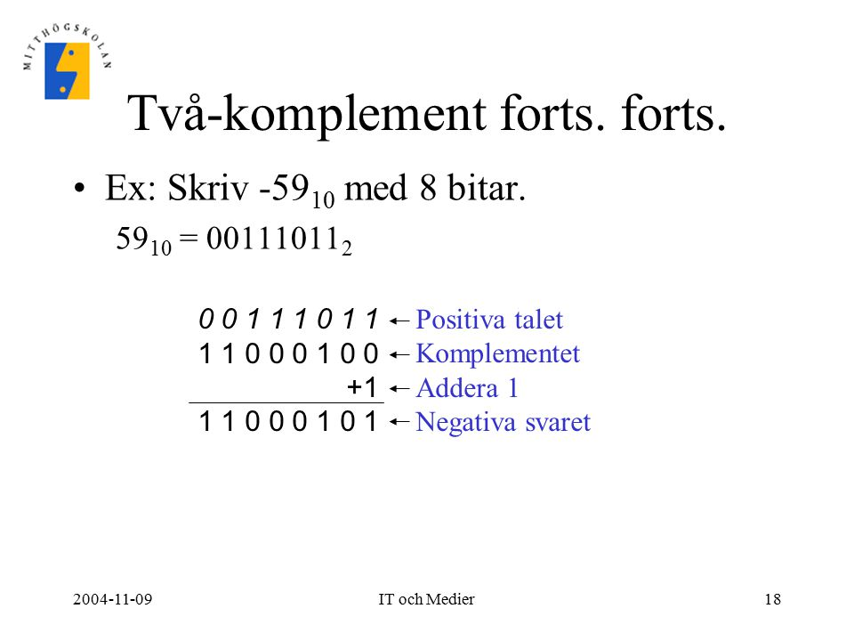 Två-komplement forts. forts.