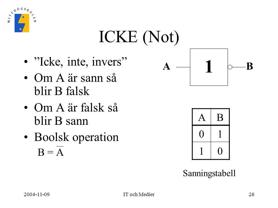 1 ICKE (Not) Icke, inte, invers Om A är sann så blir B falsk