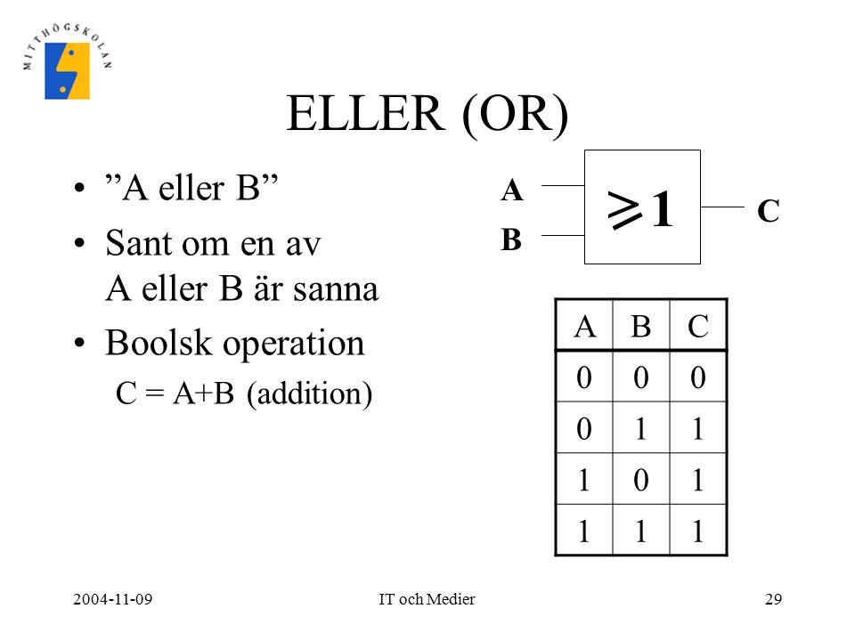 > ELLER (OR) 1 A eller B Sant om en av A eller B är sanna