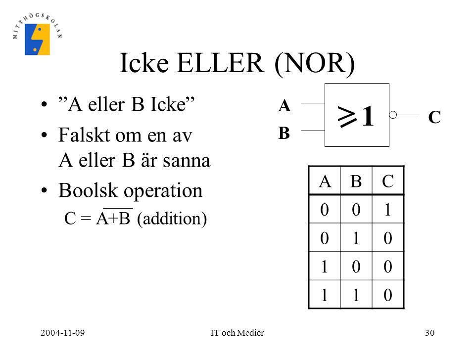 > Icke ELLER (NOR) 1 A eller B Icke