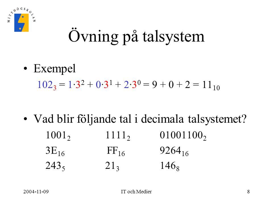 Övning på talsystem Exempel
