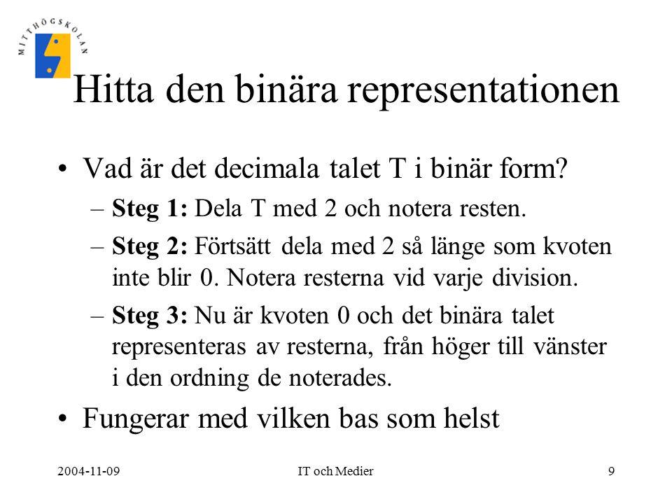 Hitta den binära representationen