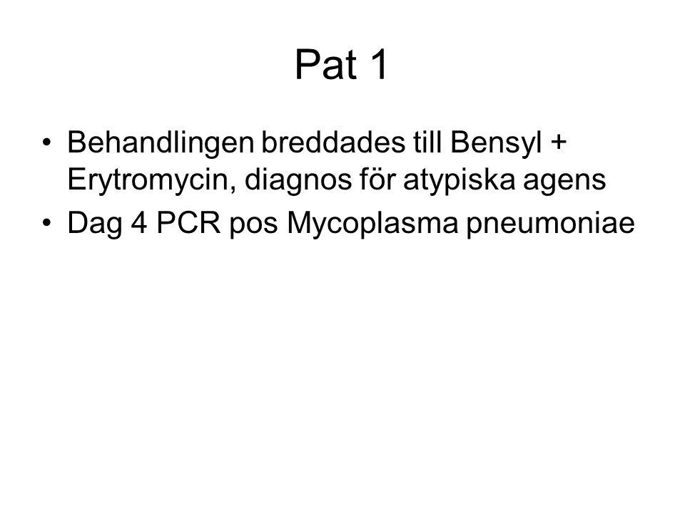 Pat 1 Behandlingen breddades till Bensyl + Erytromycin, diagnos för atypiska agens.