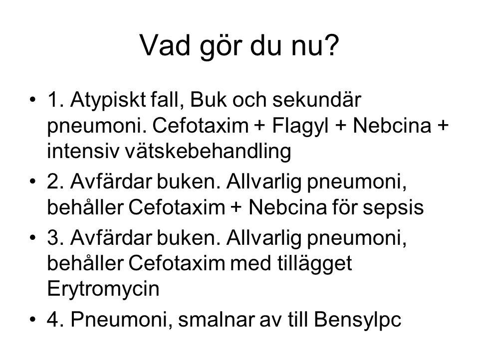 Vad gör du nu 1. Atypiskt fall, Buk och sekundär pneumoni. Cefotaxim + Flagyl + Nebcina + intensiv vätskebehandling.