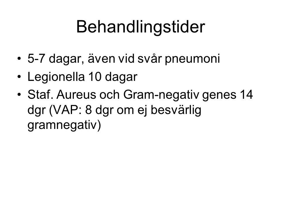 Behandlingstider 5-7 dagar, även vid svår pneumoni Legionella 10 dagar