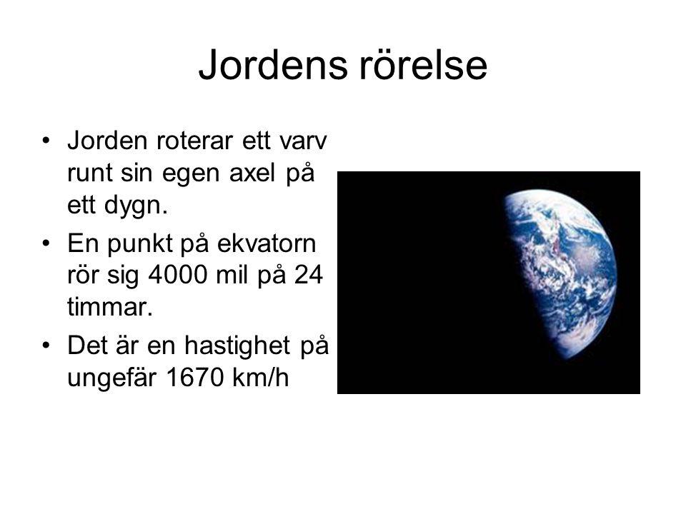 Jordens rörelse Jorden roterar ett varv runt sin egen axel på ett dygn. En punkt på ekvatorn rör sig 4000 mil på 24 timmar.