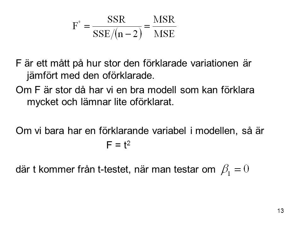 F är ett mått på hur stor den förklarade variationen är jämfört med den oförklarade.