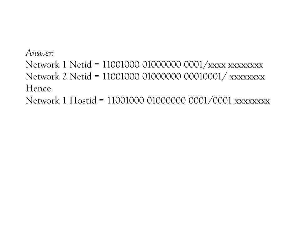 Answer: Network 1 Netid = 11001000 01000000 0001/xxxx xxxxxxxx. Network 2 Netid = 11001000 01000000 00010001/ xxxxxxxx.