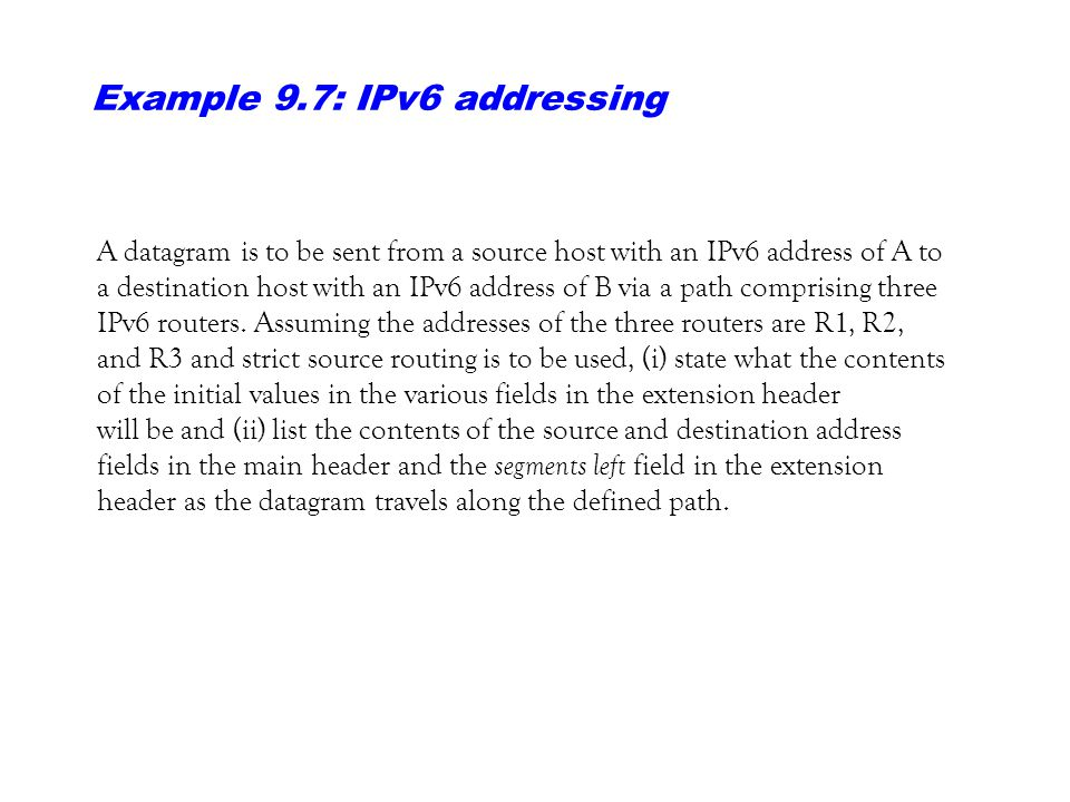 Example 9.7: IPv6 addressing