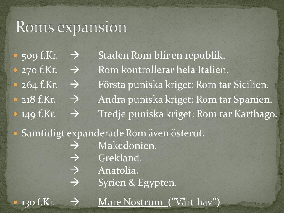 Roms expansion 509 f.Kr.  Staden Rom blir en republik.