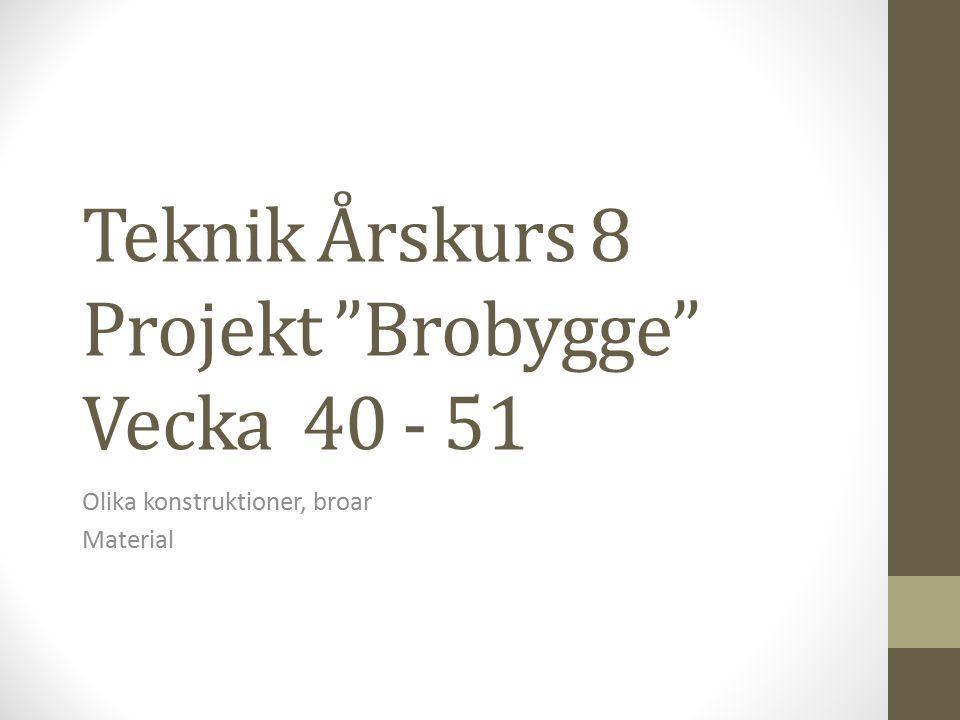 Teknik Årskurs 8 Projekt Brobygge Vecka 40 - 51