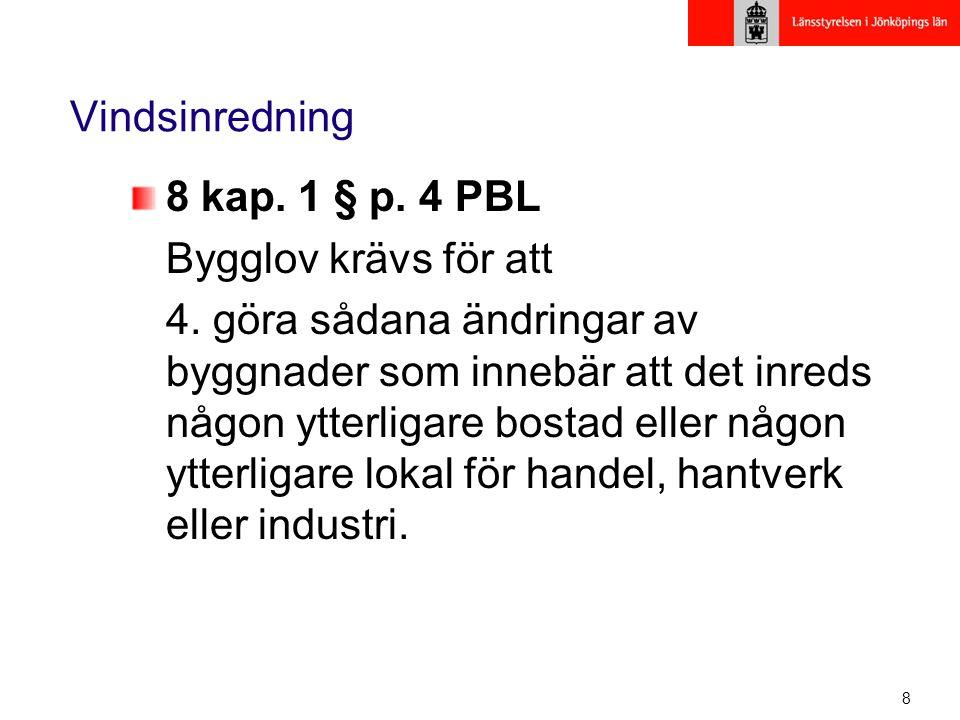 Vindsinredning 8 kap. 1 § p. 4 PBL. Bygglov krävs för att.