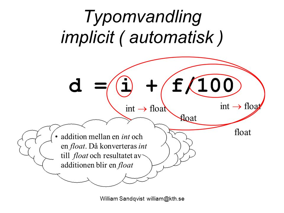 Typomvandling implicit ( automatisk )