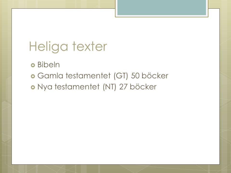 Heliga texter Bibeln Gamla testamentet (GT) 50 böcker