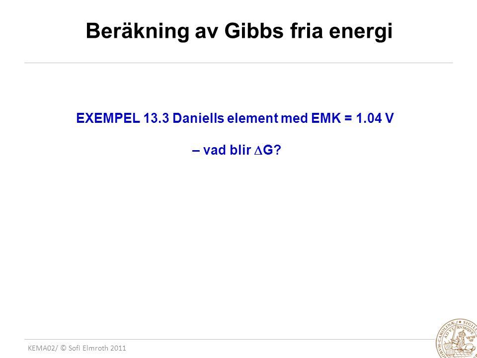 Beräkning av Gibbs fria energi