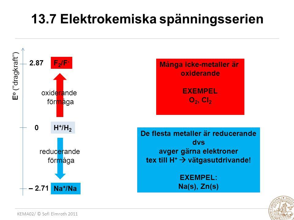 13.7 Elektrokemiska spänningsserien