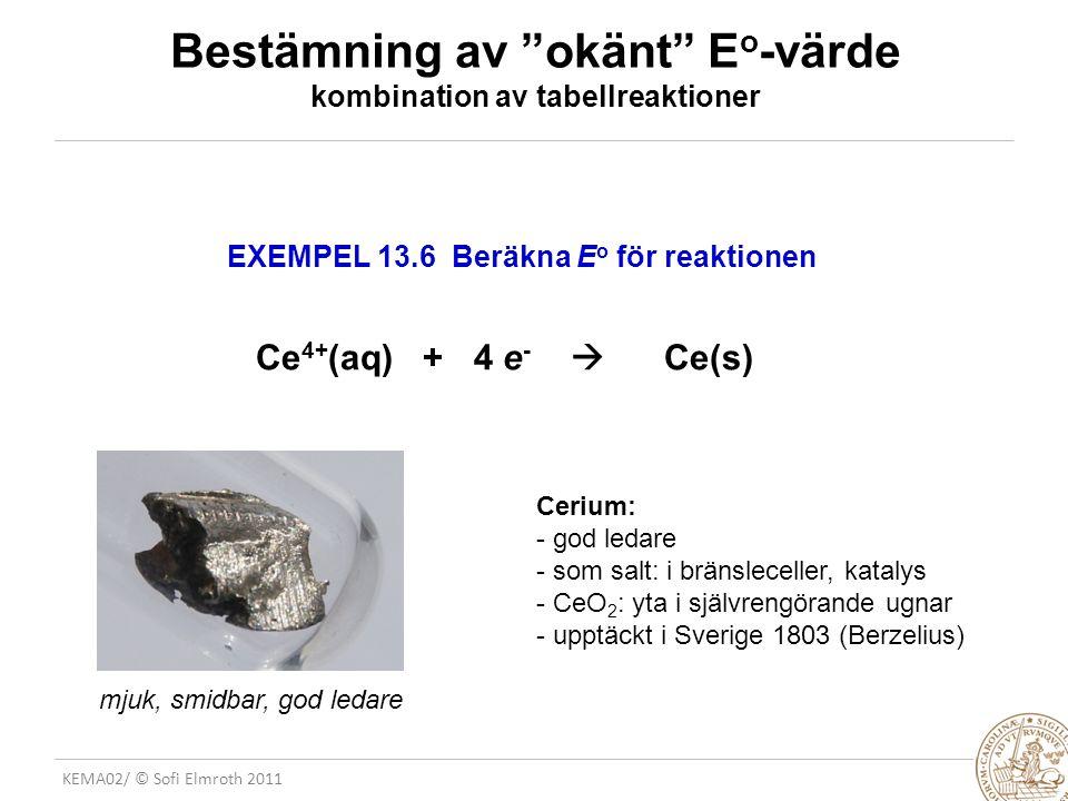 Bestämning av okänt Eo-värde kombination av tabellreaktioner