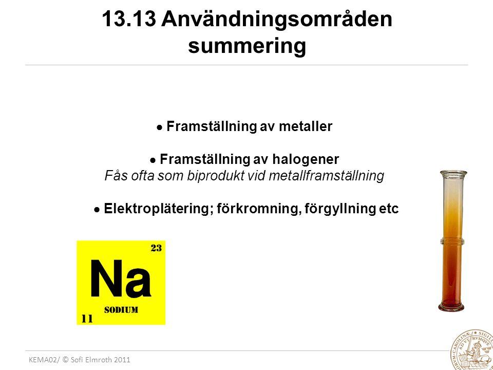 13.13 Användningsområden summering