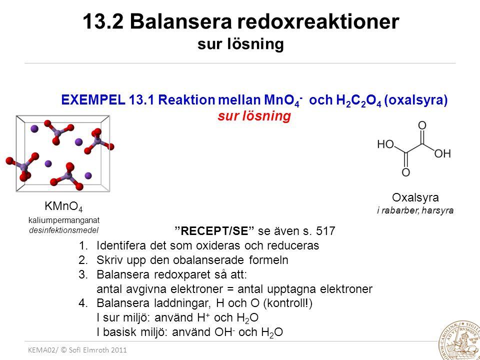 13.2 Balansera redoxreaktioner sur lösning