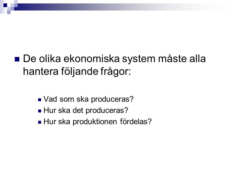 De olika ekonomiska system måste alla hantera följande frågor: