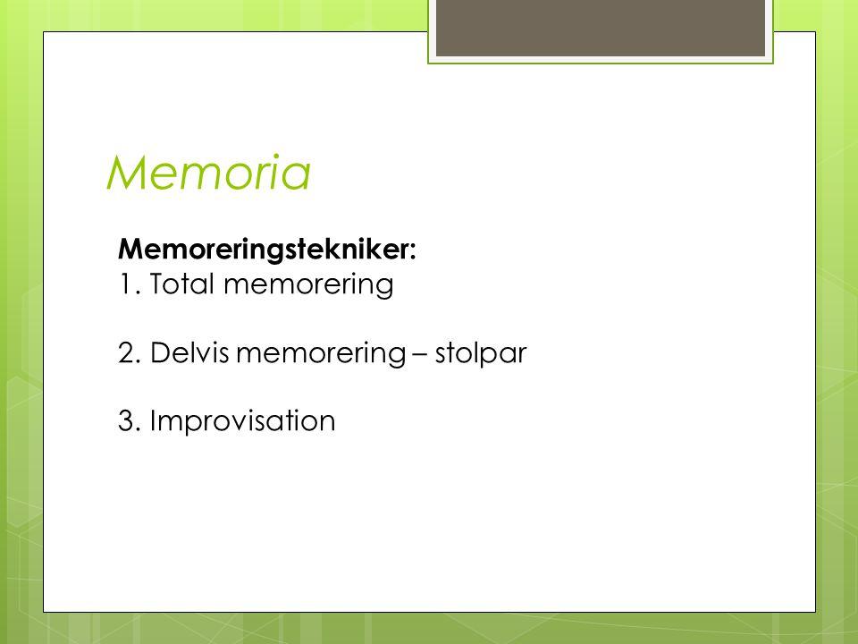 Memoria Memoreringstekniker: Total memorering