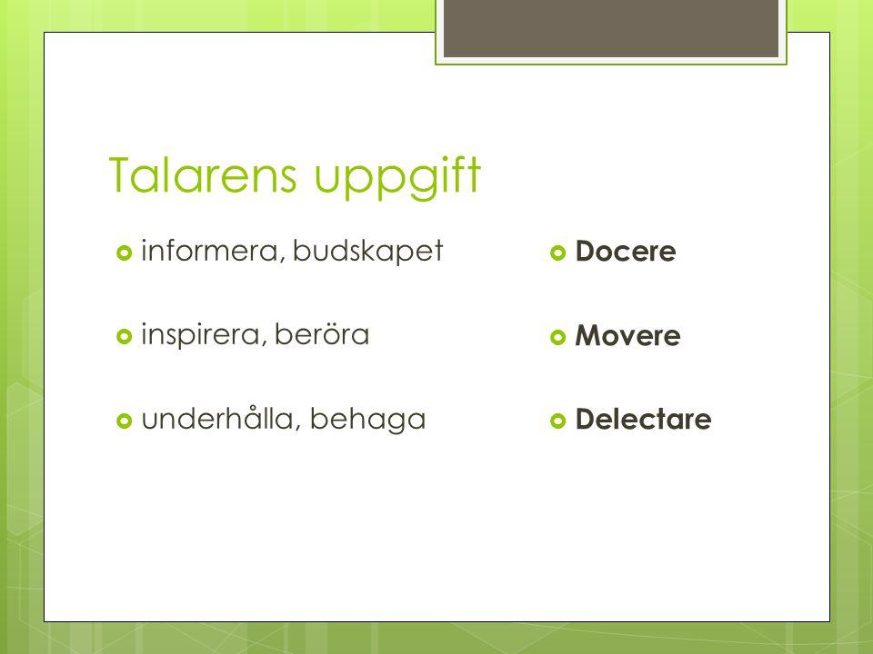 Talarens uppgift informera, budskapet Docere inspirera, beröra Movere
