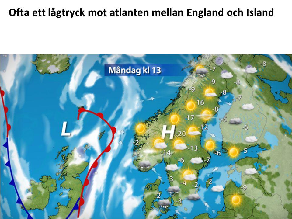 Ofta ett lågtryck mot atlanten mellan England och Island