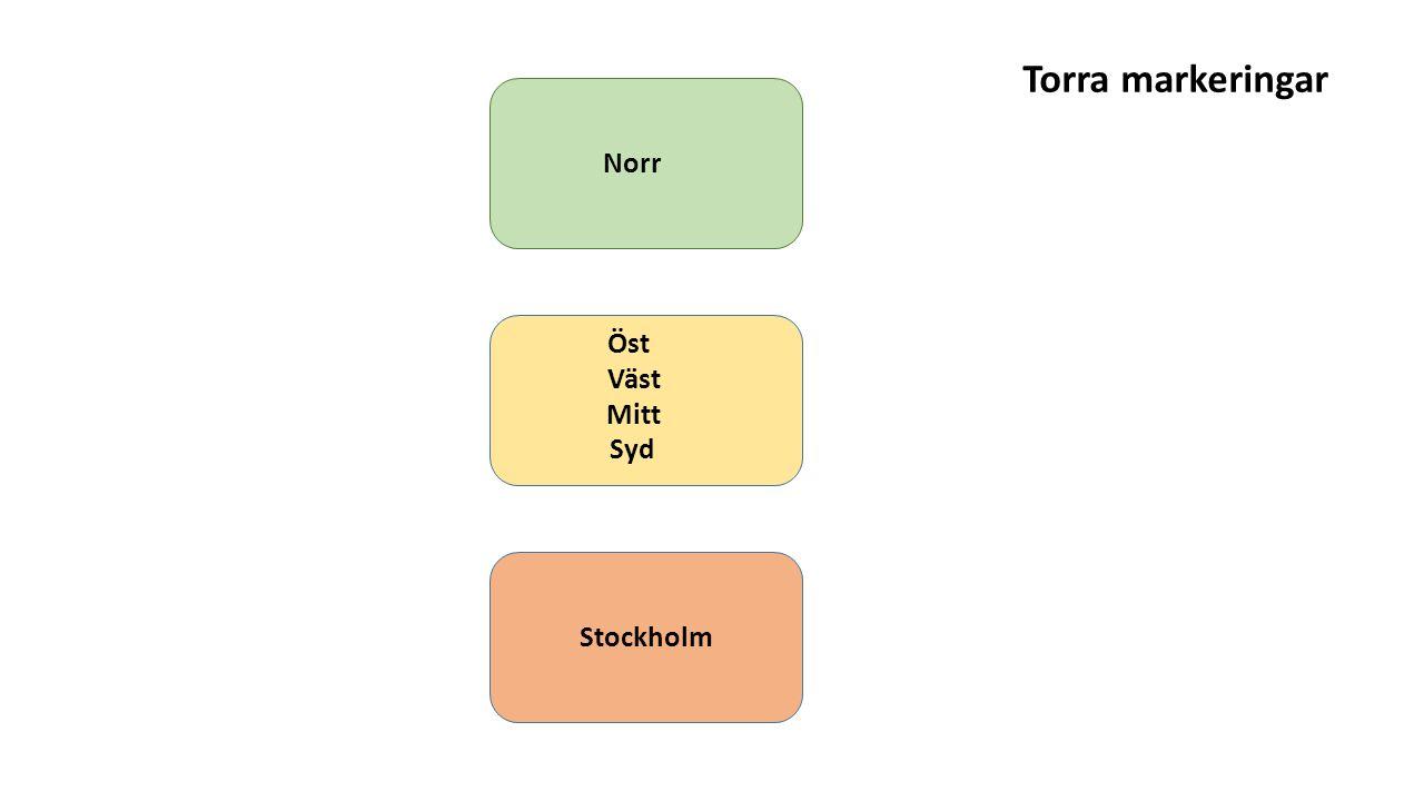 Torra markeringar Norr Öst Väst Mitt Syd Stockholm