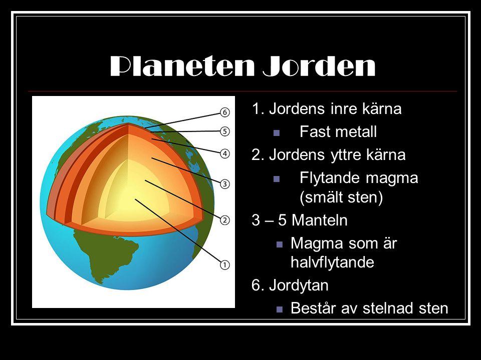 Planeten Jorden 1. Jordens inre kärna Fast metall