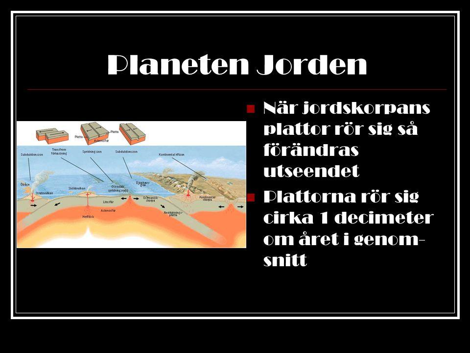 Planeten Jorden När jordskorpans plattor rör sig så förändras utseendet.
