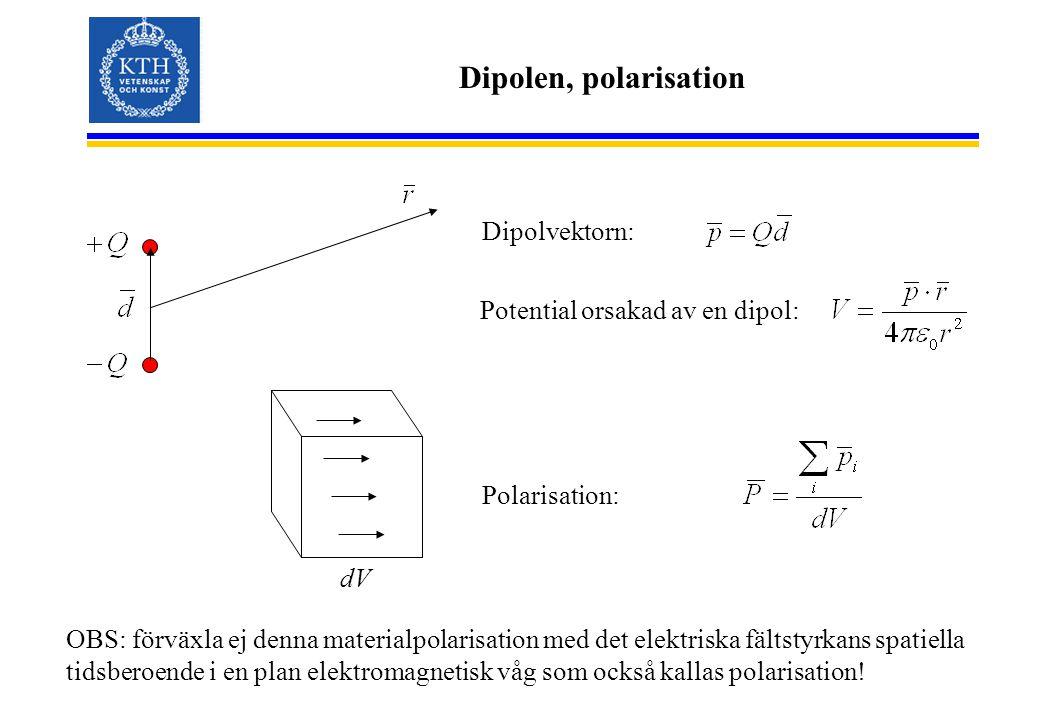 Dipolen, polarisation Dipolvektorn: Potential orsakad av en dipol: