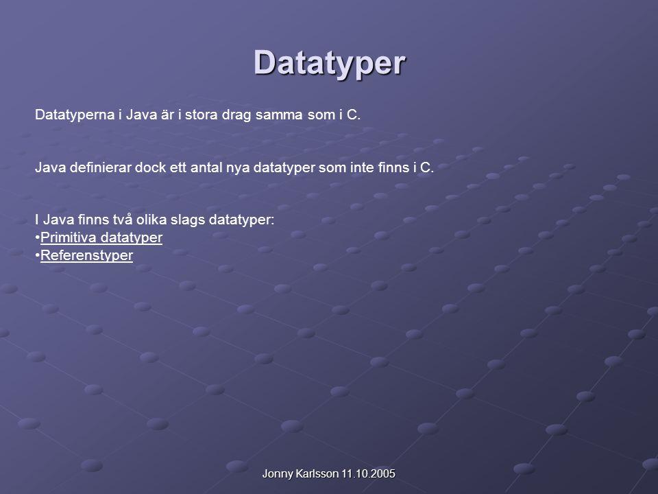 Datatyper Datatyperna i Java är i stora drag samma som i C.