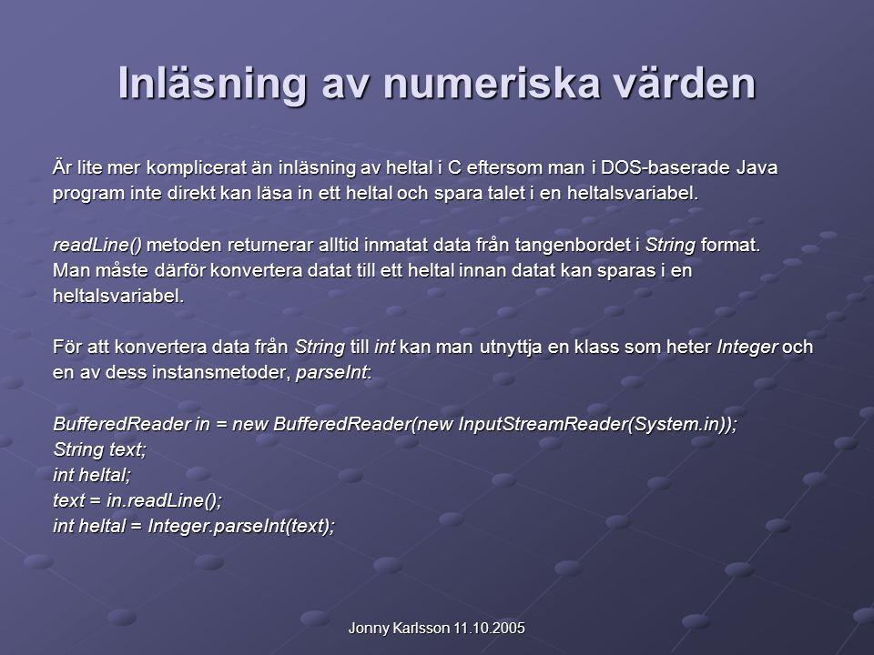 Inläsning av numeriska värden