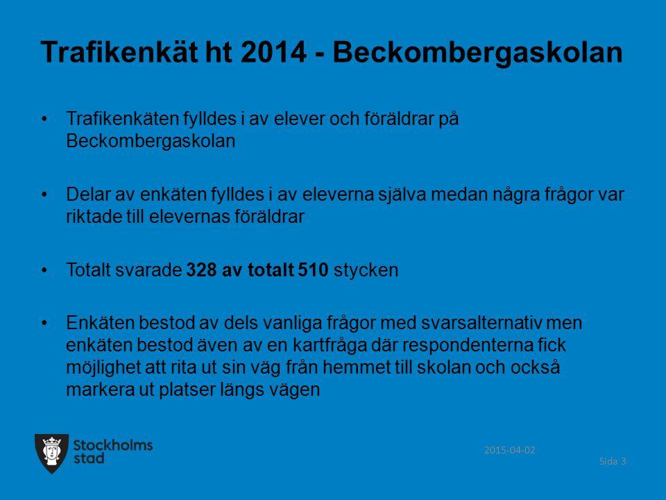 Trafikenkät ht 2014 - Beckombergaskolan