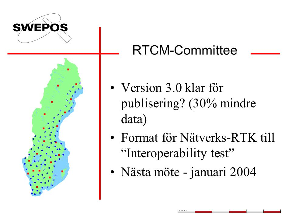 RTCM-Committee Version 3.0 klar för publisering (30% mindre data) Format för Nätverks-RTK till Interoperability test