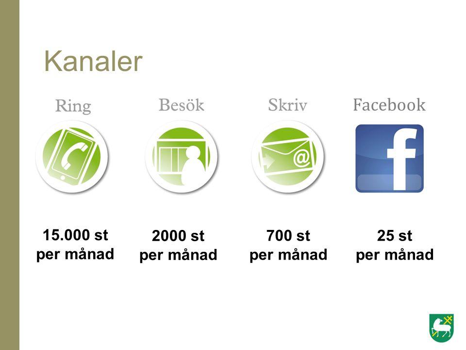 Kanaler Facebook 15.000 st per månad 2000 st per månad 700 st