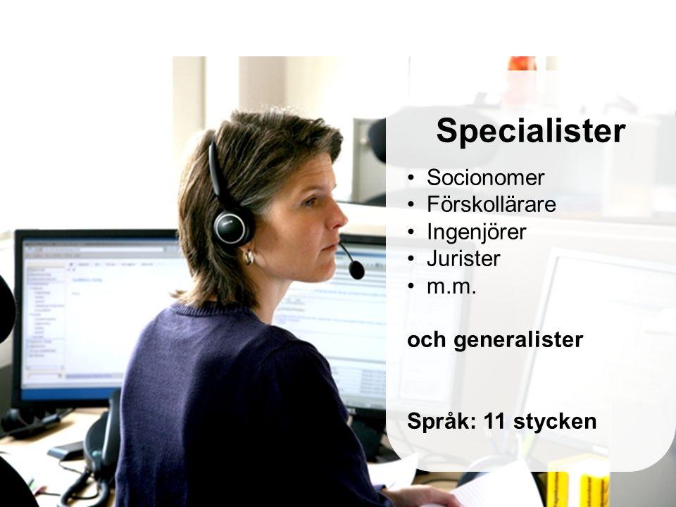 Specialister Socionomer Förskollärare Ingenjörer Jurister m.m.
