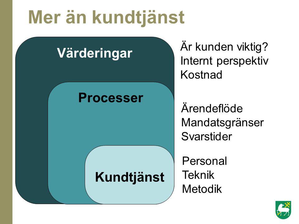 Mer än kundtjänst Värderingar Processer Kundtjänst Är kunden viktig