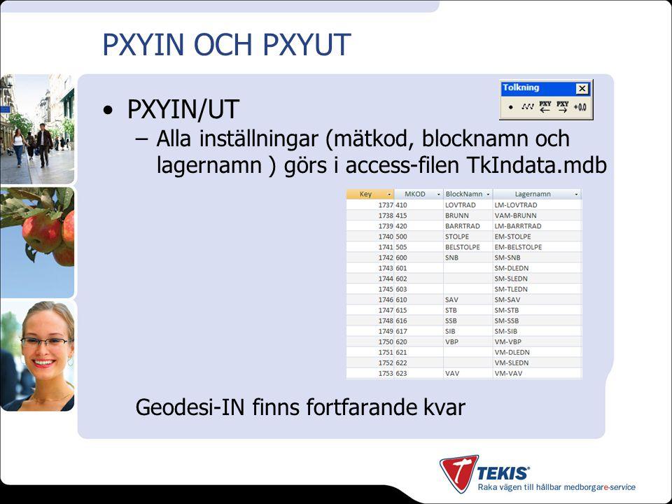 PXYIN OCH PXYUT PXYIN/UT Alla inställningar (mätkod, blocknamn och