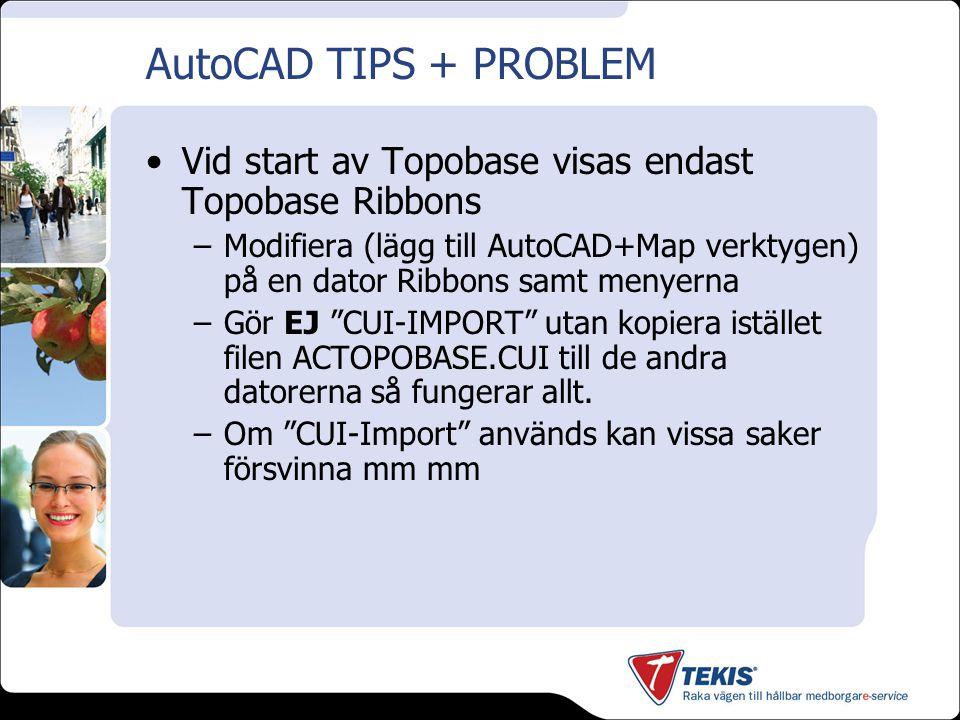AutoCAD TIPS + PROBLEM Vid start av Topobase visas endast Topobase Ribbons.